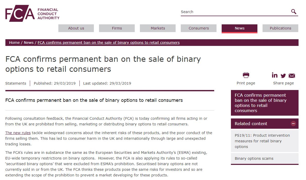 Binary options banned in uk